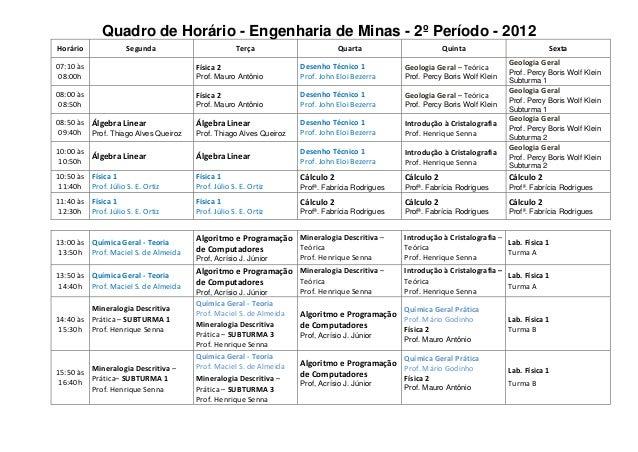 Quadro de Horário - Engenharia de Minas - 2º Período - 2012Horário              Segunda                      Terça        ...