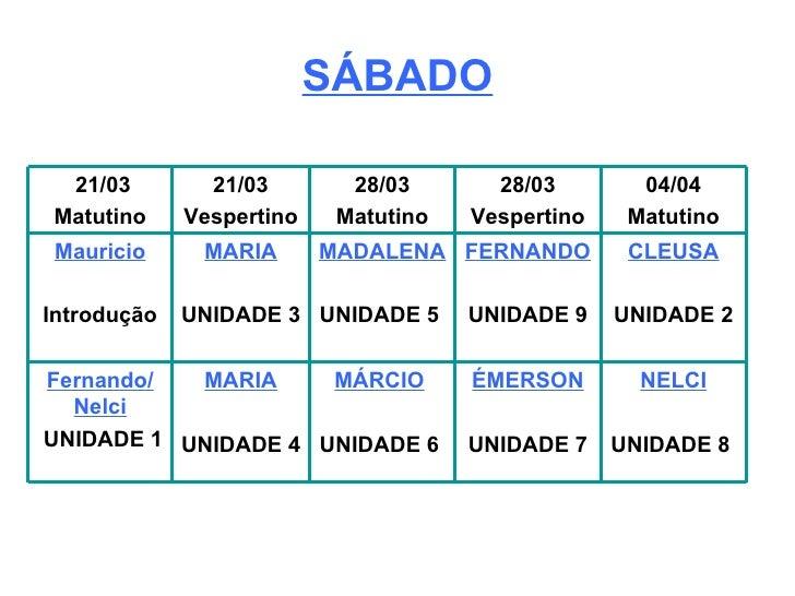 SÁBADO NELCI UNIDADE 8  ÉMERSON UNIDADE 7 MÁRCIO   UNIDADE 6  MARIA UNIDADE 4  Fernando/ Nelci UNIDADE 1 CLEUSA UNIDADE 2 ...
