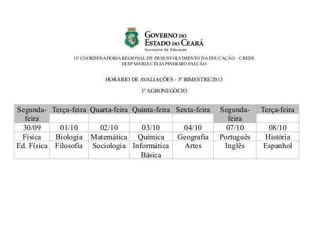 11ª COORDENADORIA REGIONAL DE DESENVOLVIMENTO DA EDUCAÇÃO – CREDE EEEP MARIA CÉLIA PINHEIRO FALCÃO HORÁRIO DE AVALIAÇÕES -...