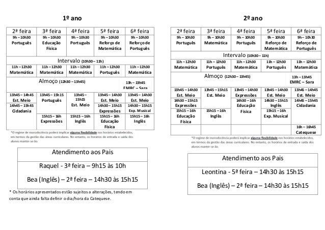 1º ano 2ª feira 3ª feira 4ª feira 5ª feira 6ª feira 9h – 10h30 Português 9h – 10h30 Educação Física 9h – 10h30 Português 9...