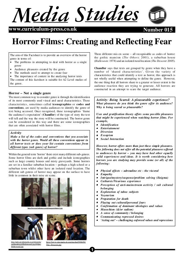 1 Number 015www.curriculum-press.co.uk Horror Films: Creating and Reflecting Fear M tudiesSedia Horror – Not a single genr...