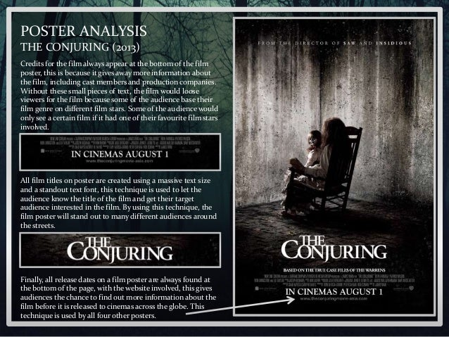 POSTER ANALYSIS THE CONJURING 2013 Credits For The Film