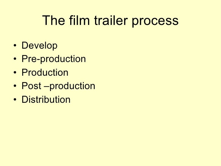 The film trailer process <ul><li>Develop </li></ul><ul><li>Pre-production </li></ul><ul><li>Production </li></ul><ul><li>P...