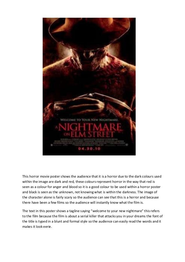 This horror movie poster shows the audience that it is a horror due to the dark colours usedwithin the image are dark and ...