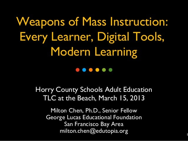 Weapons of Mass Instruction:Every Learner, Digital Tools,      Modern Learning   Horry County Schools Adult Education     ...