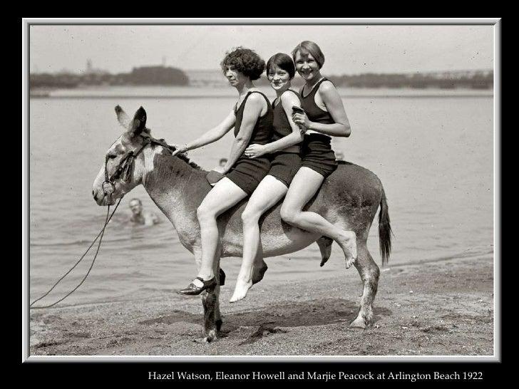 Hazel Watson, Eleanor Howell and Marjie Peacock at Arlington Beach 1922