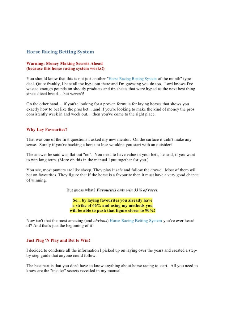guide to horse racing betting system