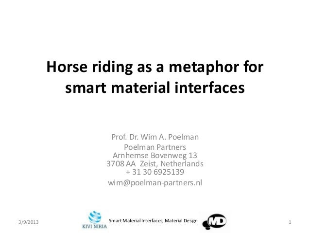 Horse riding as a metaphor for             smart material interfaces                    Prof. Dr. Wim A. Poelman          ...