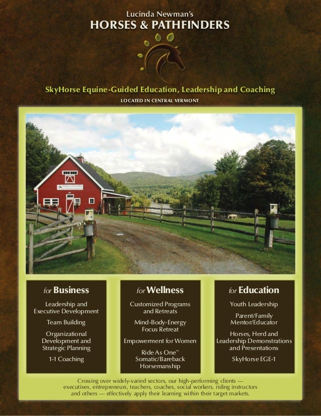 Lucinda Newman's                    Horses & Pathfinders   SkyHorse Equine-Guided Education, Leadership and Coaching      ...