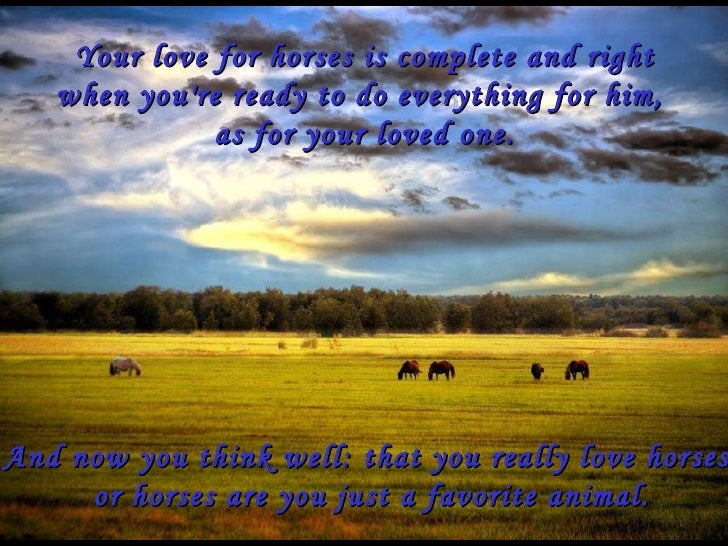 Your love for horses is complete and right when you're ready to do everything for him,  as for your loved one. And now you...