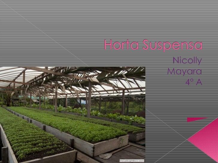    O que é uma horta suspensa?   O que pode ser plantado?   Quais os materiais que podem ser    usados?   Introduzir i...