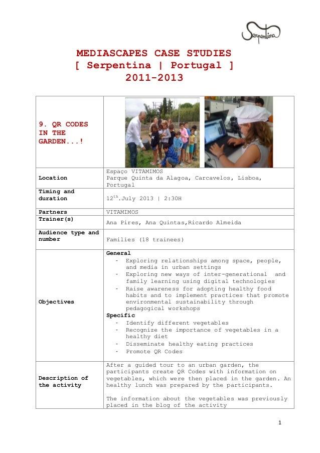 1 MEDIASCAPES CASE STUDIES [ Serpentina | Portugal ] 2011-2013 9. QR CODES IN THE GARDEN...! Location Espaço VITAMIMOS Par...