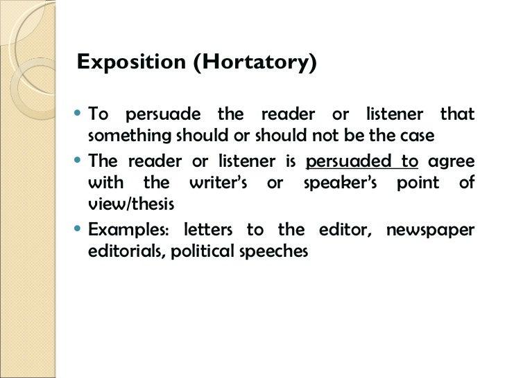 Hortatory discourse in rhetoric.