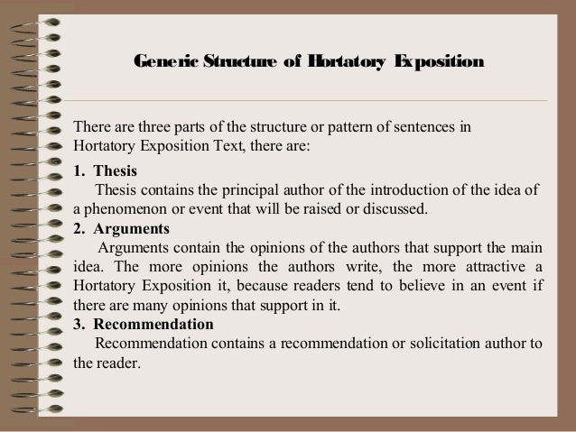 hortatory exposition thesis argument recommendation Hortatory exposition  thesis, arguments and recommendation 4 what is the tittle of the text   make hortatory text the title is about internet for students.