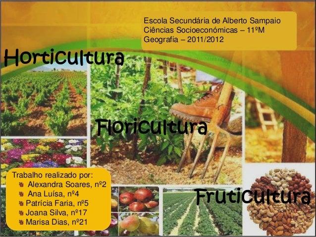 Horticultura Floricultura Fruticultura Escola Secundária de Alberto Sampaio Ciências Socioeconómicas – 11ºM Geografia – 20...