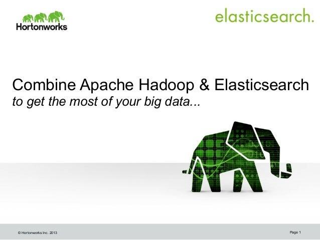 Combine Apache Hadoop & Elasticsearch to get the most of your big data...  © Hortonworks Inc. 2013  Page 1