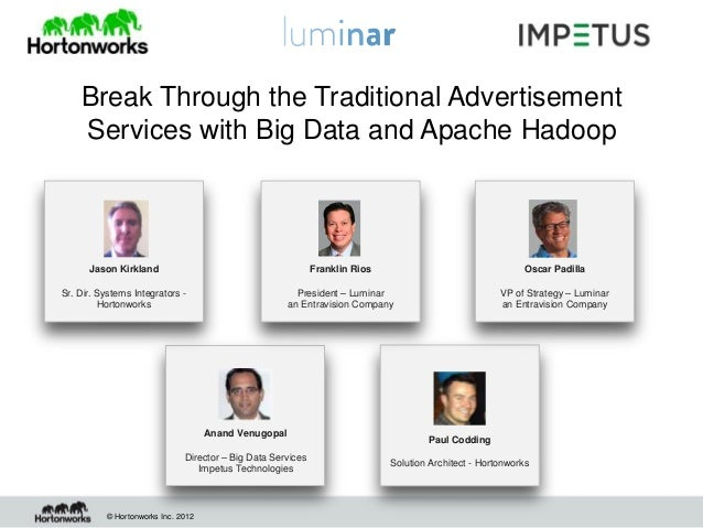 Break Through the Traditional Advertisement    Services with Big Data and Apache Hadoop      Jason Kirkland               ...