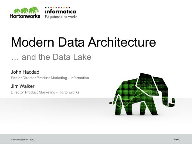 © Hortonworks Inc. 2013 Modern Data Architecture … and the Data Lake John Haddad Senior Director Product Marketing - Infor...