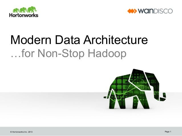 Modern Data Architecture …for Non-Stop Hadoop  © Hortonworks Inc. 2013  Page 1