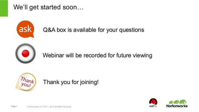 We'll get started soon…  Q&A box is available for your questions  Webinar will be recorded for future viewing  Thank you f...