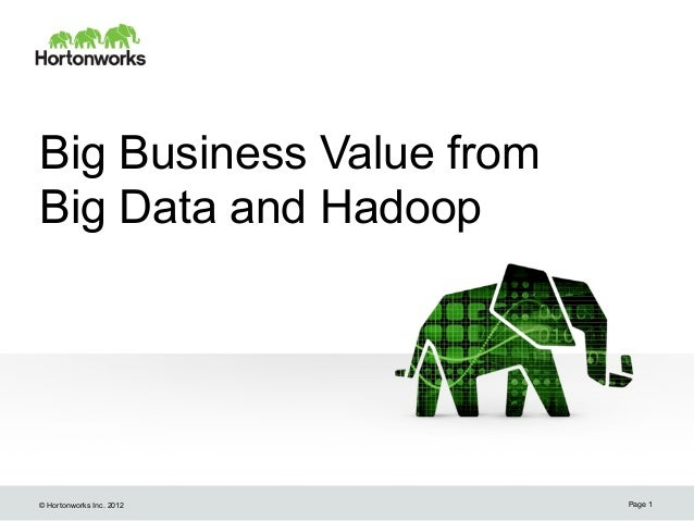 Big Business Value fromBig Data and Hadoop© Hortonworks Inc. 2012   Page 1