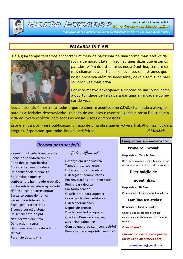 Ano I - nº 1 - Janeiro de 2011                                     Publicação para a Internet do Jornal da Mocidade do Cen...