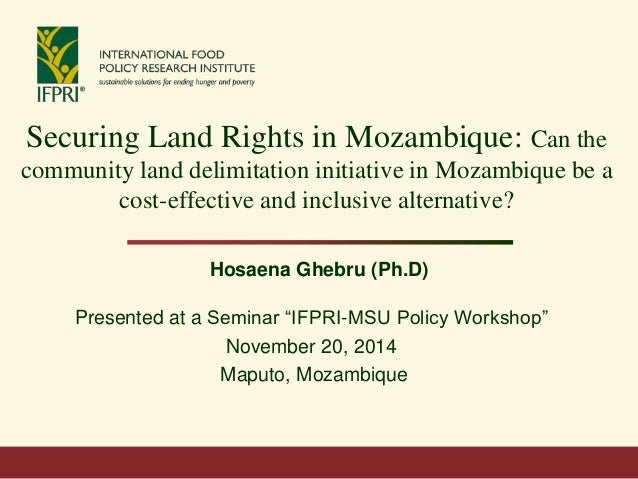 Securing Land Rights in Mozambique: Can the community land delimitation initiative in Mozambique be a cost-effective and i...