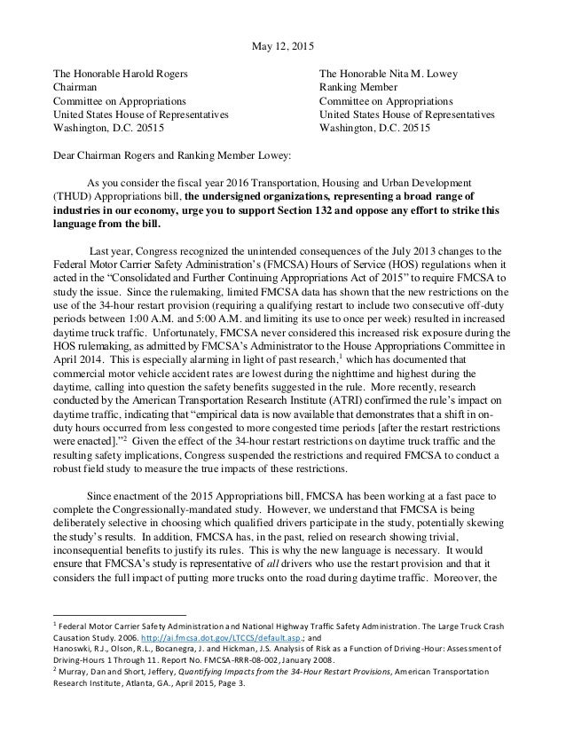 Coalition Letter To House Appropriations Committee On Hours Of Servic…