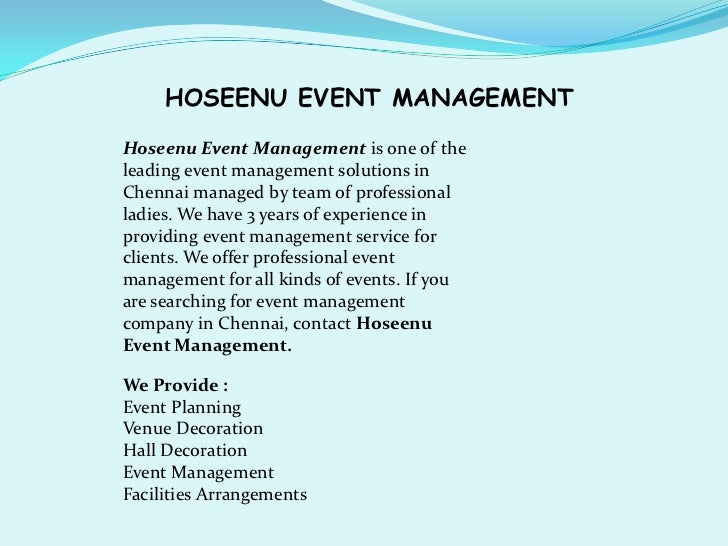 HOSEENU EVENT MANAGEMENTHoseenu Event Management is one of theleading event management solutions inChennai managed by team...