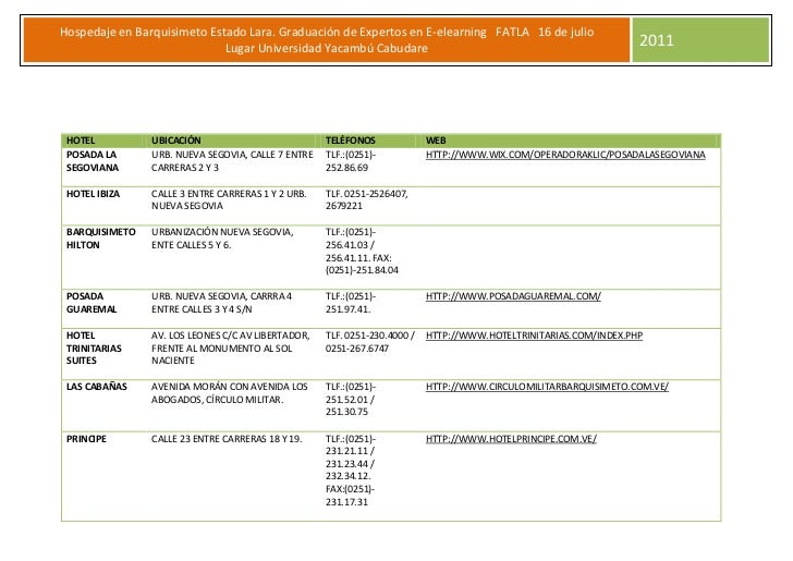 Hospedaje en Barquisimeto Estado Lara. Graduación de Expertos en E-elearning FATLA 16 de julio                            ...