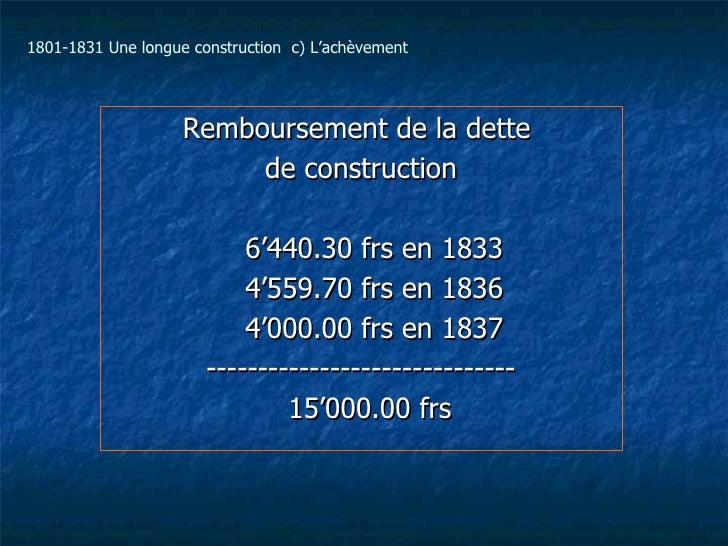 Remboursement de la dette  de construction 6'440.30 frs en 1833 4'559.70 frs en 1836 4'000.00 frs en 1837 ----------------...