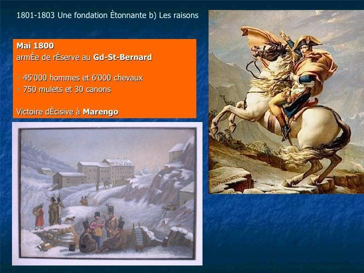 <ul><li>Mai 1800 </li></ul><ul><li>armée de réserve au  Gd-St-Bernard   </li></ul><ul><li>45'000 hommes et 6'000 chevaux <...