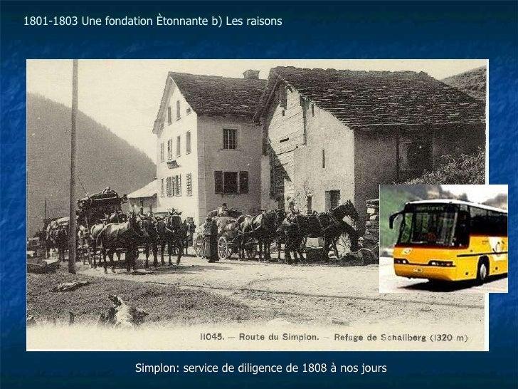 Simplon: service de diligence de 1808 à nos jours 1801-1803 Une fondation étonnante b) Les raisons