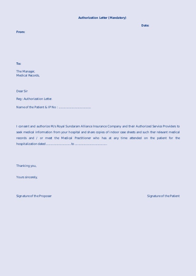 authorization letter to get medical records - Template