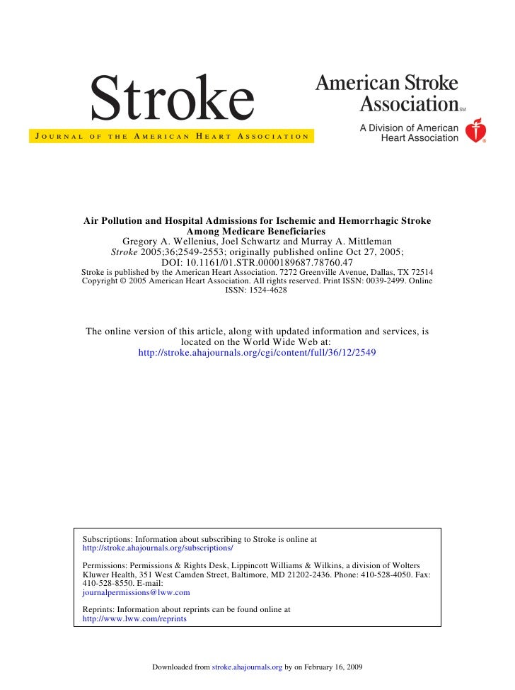Air Pollution and Hospital Admissions for Ischemic and Hemorrhagic Stroke                        Among Medicare Beneficiar...