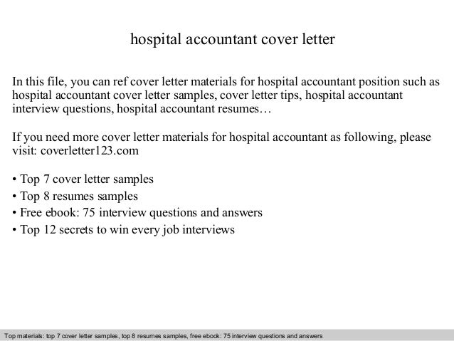 Hospital Accountant Cover Letter In This File, You Can Ref Cover Letter  Materials For Hospital ...