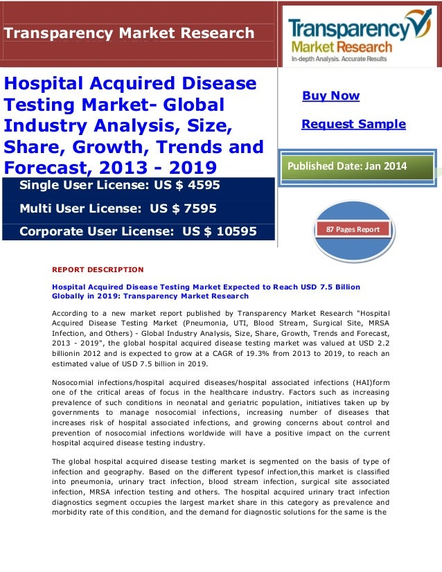 REPORT DESCRIPTION Hospital Acquired Disease Testing Market Expected to Reach USD 7.5 Billion Globally in 2019: Transparen...
