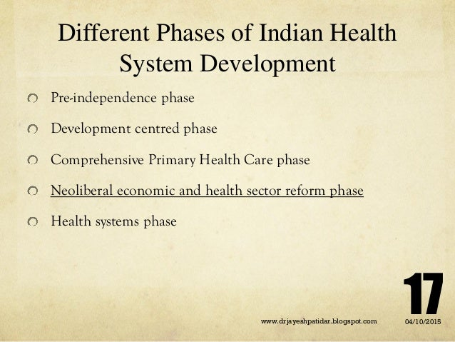 Different Phases of Indian Health System Development Pre-independence phase Development centred phase Comprehensive Primar...