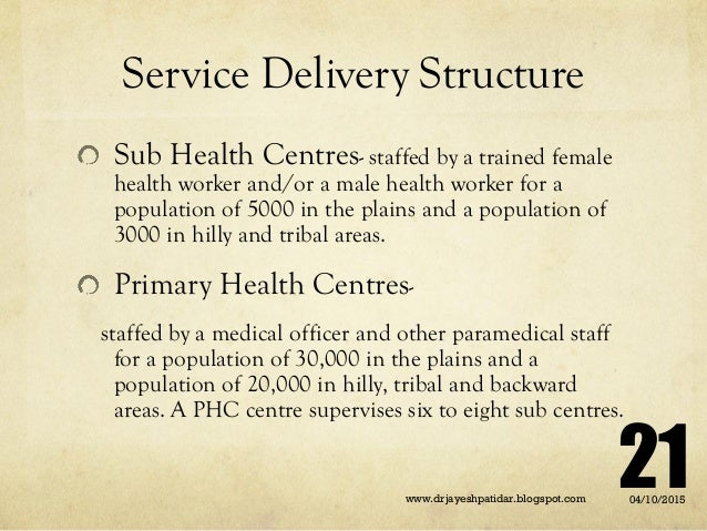 Service Delivery Structure Sub Health Centres- staffed by a trained female health worker and/or a male health worker for a...