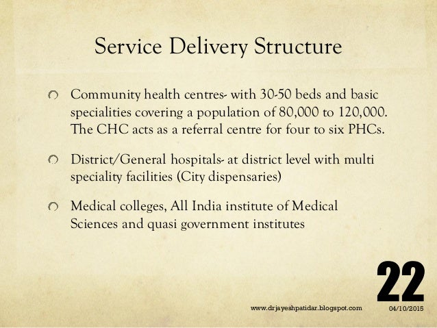 Service Delivery Structure Community health centres- with 30-50 beds and basic specialities covering a population of 80,00...