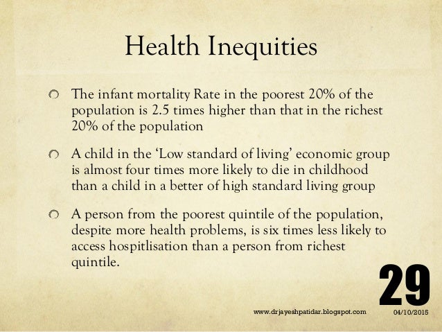Health Inequities The infant mortality Rate in the poorest 20% of the population is 2.5 times higher than that in the rich...