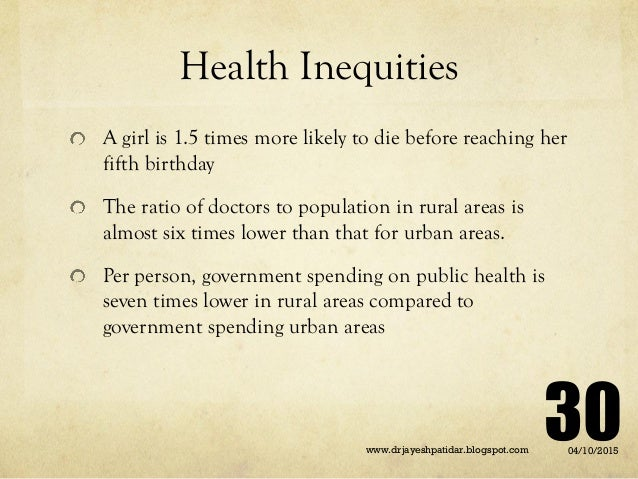 Health Inequities A girl is 1.5 times more likely to die before reaching her fifth birthday The ratio of doctors to popula...
