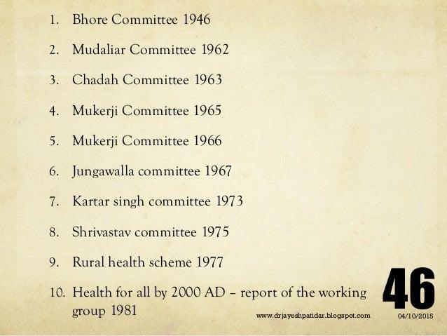 1. Bhore Committee 1946 2. Mudaliar Committee 1962 3. Chadah Committee 1963 4. Mukerji Committee 1965 5. Mukerji Committee...