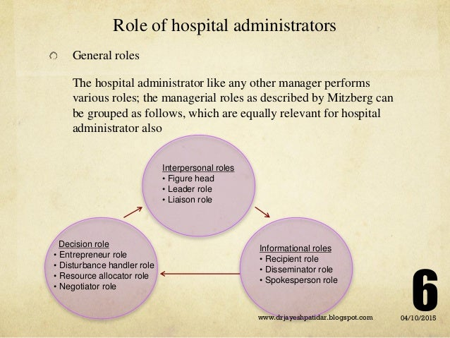 roles and responsibilities of hospital administrator pdf