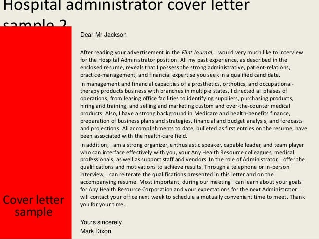 hospital administration cover letter - Template