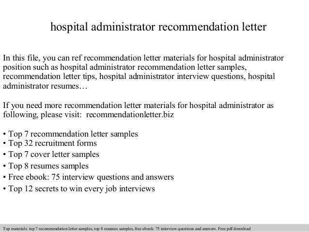 Hospital Administrator Recommendation Letter In This File, You Can Ref Recommendation  Letter Materials For Hospital ...