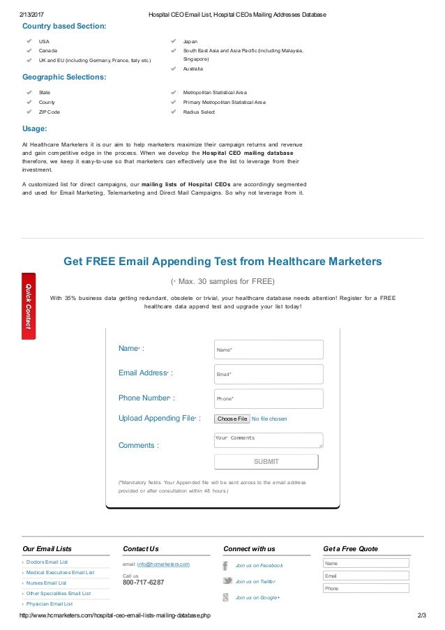Hospital ceo email list