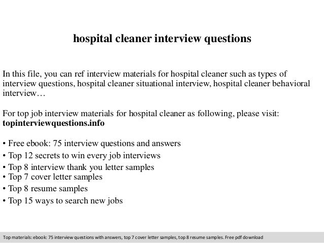 Hospital cleaner interview questions