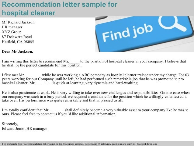 Hospital cleaner recommendation letter recommendation letter sample for hospital cleaner expocarfo Gallery
