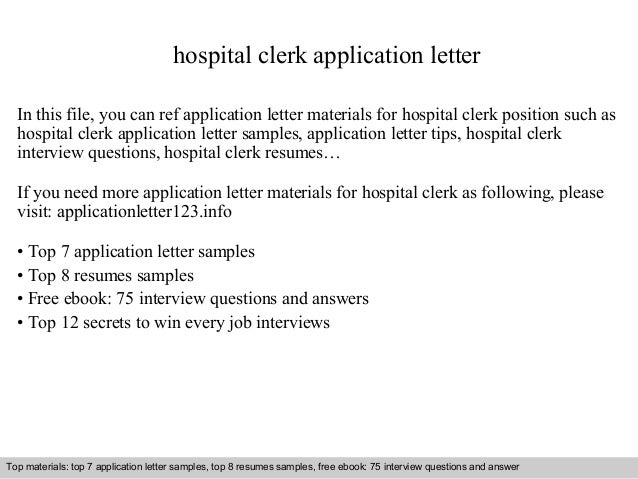 Nice Hospital Clerk Application Letter In This File, You Can Ref Application  Letter Materials For Hospital ...